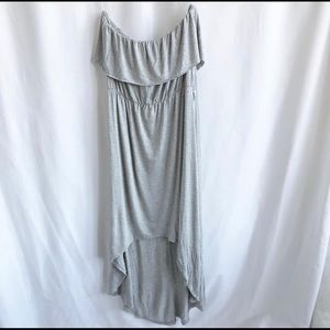 Candy couture light grey strapless high low dress